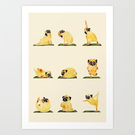 Pug Yoga Watercolor Art Print