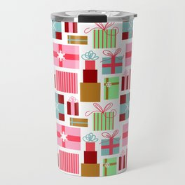 Merry Christmas from Florida | Presents Gift Boxes Bows Tropical Pink Green | Renee Davis Travel Mug