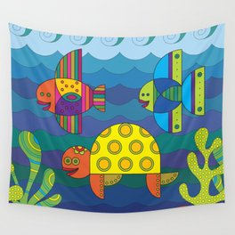 Stylize fantasy fishes and turtle under water. Wall Tapestry