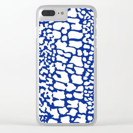 ANIMAL PRINT SNAKE SKIN BLUE AND WHITE PATTERN Clear iPhone Case