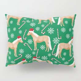 Palomino Horse Christmas - peppermint, candy cane, snowflake, christmas, green and red, santa Pillow Sham