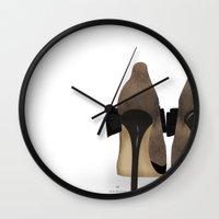 heels Wall Clocks featuring Bow Heels by CristinaAyala