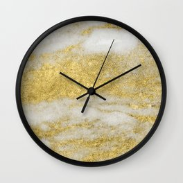 Marble - Glittery Gold Marble and White Pattern Wall Clock
