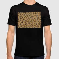 Yzor pattern 006-2 kitai beige Black Mens Fitted Tee MEDIUM