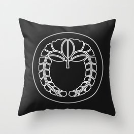 Fujiwara Clan · White Mon · Outlined Throw Pillow