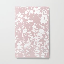 Blush Pink White Spilled Paint Mess Metal Print