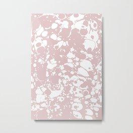 Blush Pink White Spilled Paint Mess Metal Print