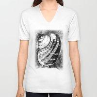 snail V-neck T-shirts featuring Snail by MARIA BOZINA - PRINT