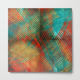 Red and Turquoise Weave Metal Print