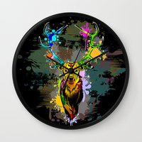 popart Wall Clocks featuring Deer PopArt Dripping Paint by BluedarkArt