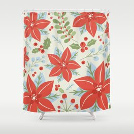 Holiday Poinsettia Mistletoe and Holly Berries Christmas Pattern in Red Green Blue Gray Shower Curtain
