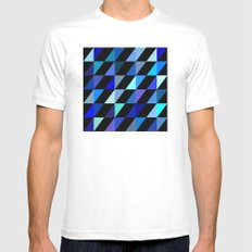 Blue Triangle Pattern (2013) Mens Fitted Tee MEDIUM White