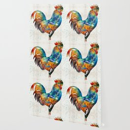 Colorful Rooster Art by Sharon Cummings Wallpaper