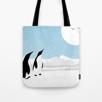 penguins Tote Bags featuring Penguins by Rceeh