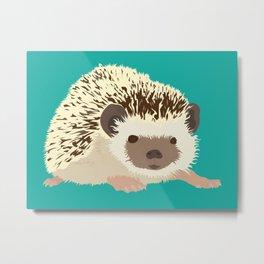 Hedgehog - Teal/Aqua Metal Print