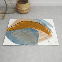 Gentle Breeze: a minimal, abstract mixed-media piece in blues and tans by Alyssa Hamilton Art Rug