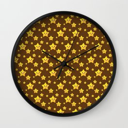 Cute Yellow Stars in Brown BG Wall Clock