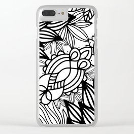 Hand drawn black white modern floral Clear iPhone Case