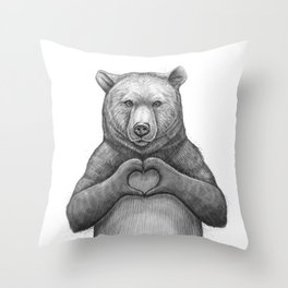 Bear with love Throw Pillow
