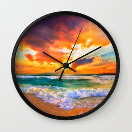 Orange Sunset Landscape Red Purple Green Sea Waves Art Wall Clock