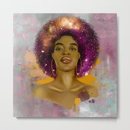 Black Queen Retro Afro Words Melanin Unapologetically Dope Metal Print