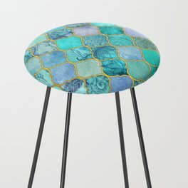 Cool Jade & Icy Mint Decorative Moroccan Tile Pattern Counter Stool