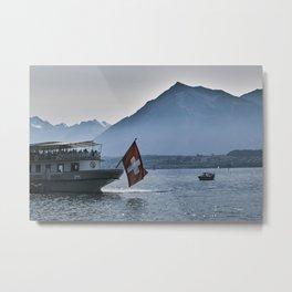 Swiss Flag cruise boat on Lake Thun Metal Print