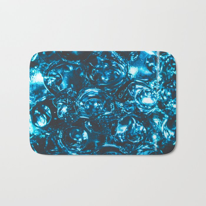 Sparkly blue water marbles Bath Mat
