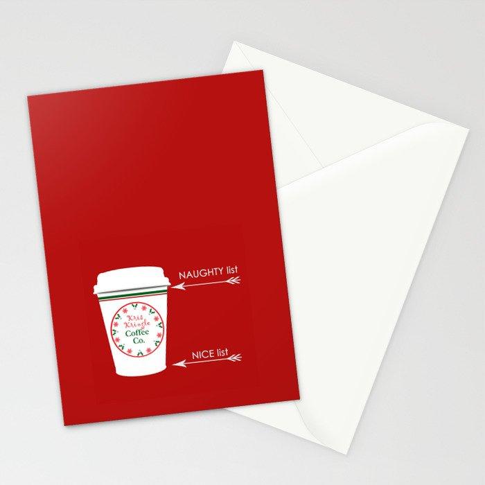 Christmas Naughty Nice Coffee Cup Stationery Cards