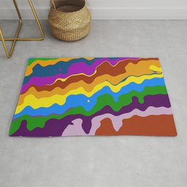 Rolling Hills Bold Colorful Wave Abstract Rug