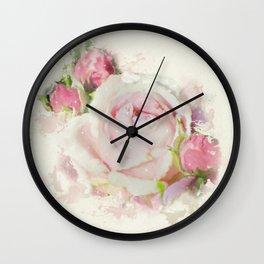 Watercolor Pink Rose Wall Clock