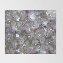 Sparkling Clear Light Purple Amethyst Crystal Stone Throw Blanket