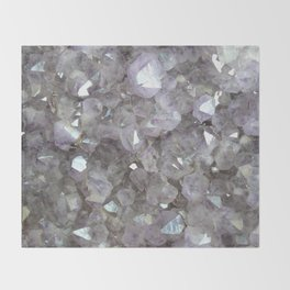 Sparkling Clear Light Purple Amethyst Crystal Stone Throw Blanket