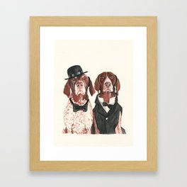 german short hair pointers - F.I.P. @ifitwags (The pointer brothers) Framed Art Print