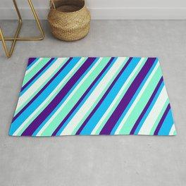 Aquamarine, Indigo, Deep Sky Blue & Mint Cream Colored Lines Pattern Rug
