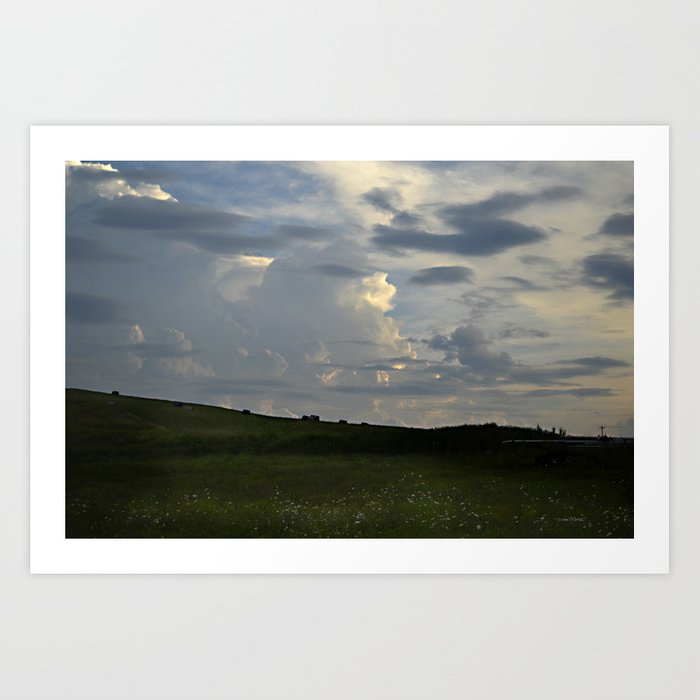Sunset Cloudscape Rolling Hills Hay Rolls Art Print
