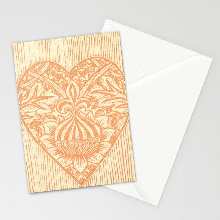 Peach Fleur de Lis Heart Stationery Cards