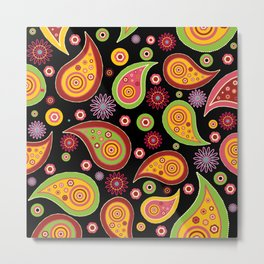 Oriental Persian Paisley - Green Yellow Red Metal Print