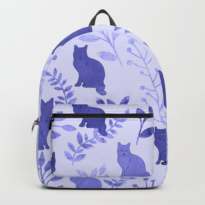 Watercolor Floral and Cat VII Backpack