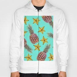 Starfruits - Pineapple pattern - turquoise background Hoody