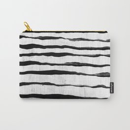 Black Ripples on White Texture Carry-All Pouch