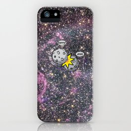I never meant to hurt you - meteor collision in space cartoon iPhone Case