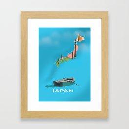 Japan Fishing Boat travel map Framed Art Print