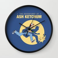 tintin Wall Clocks featuring THE ADVENTURES OF ASH KETCHUM by Akiwa
