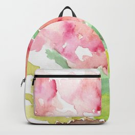 Watercolor Spring Flowers in a Clay Pot Backpack