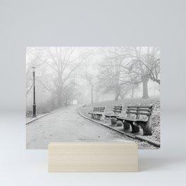 Park Benches and Lamp Post Mini Art Print
