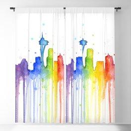 Seattle Skyline Rainbow Watercolor Blackout Curtain