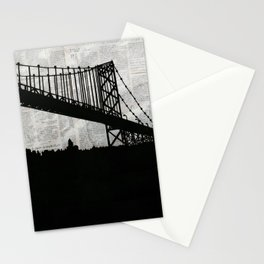 Paper City, Newspaper Bridge Collage Stationery Cards