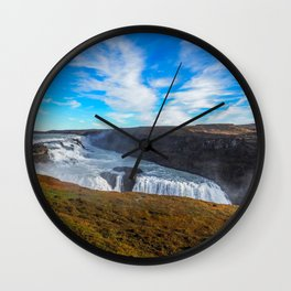 Gulfoss waterfall Wall Clock
