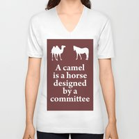 camel V-neck T-shirts featuring Camel by cocksoupart